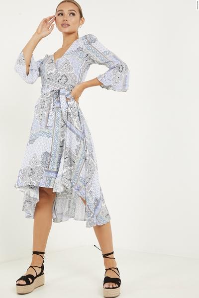 Blue Paisley Print Dip Hem Dress